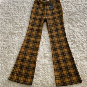 NWT plaid flare stretch pants